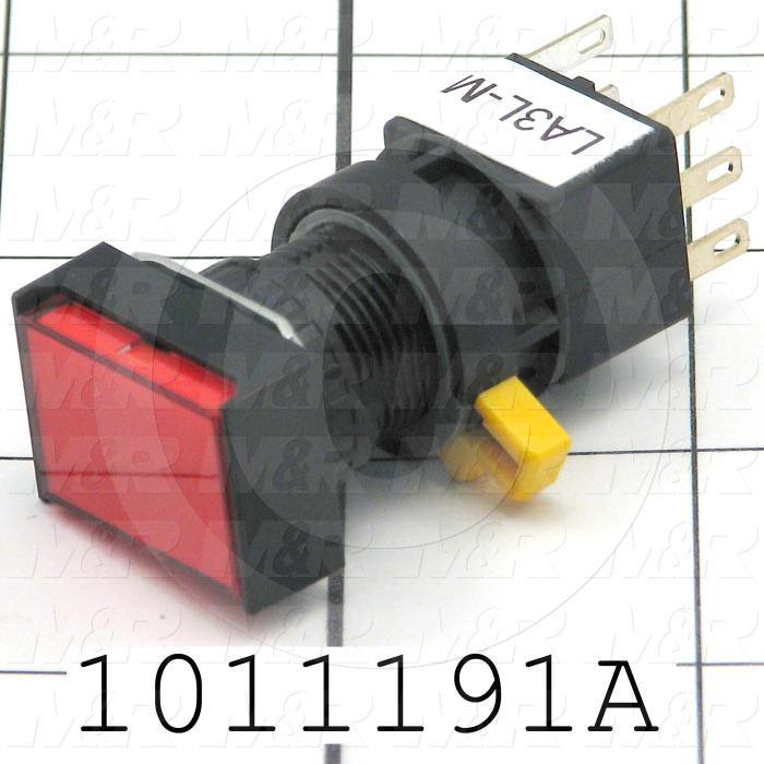 Pushbutton Switch, Momentary, Rectangle, Red, SPDT, Illuminated, 120V