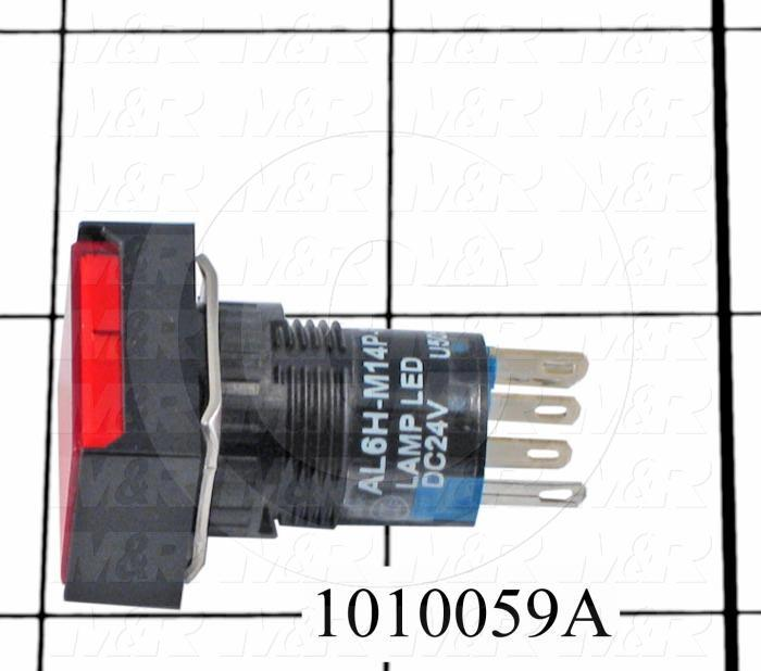 Pushbutton Switch, Momentary, Rectangle, Red, SPDT, LED, 24VDC