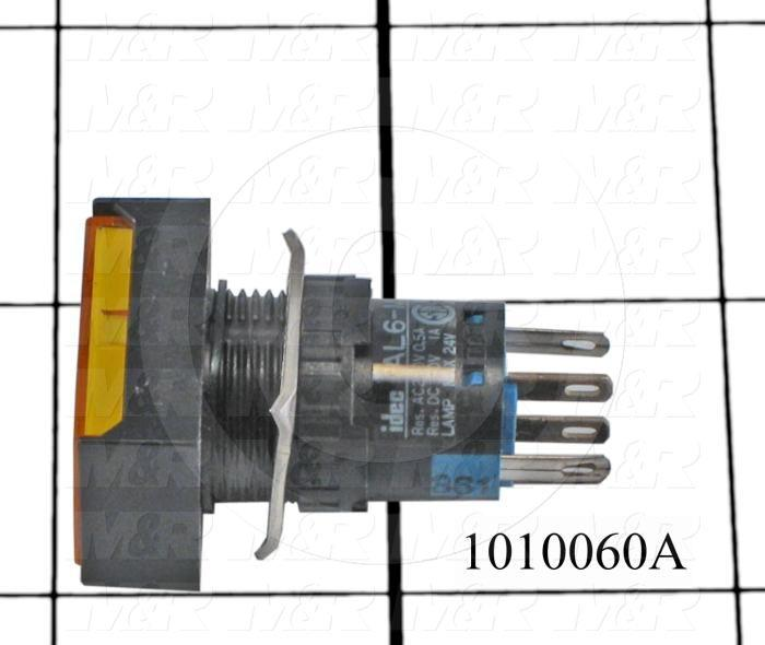 Pushbutton Switch, Momentary, Rectangle, Yellow, SPDT, LED, 24VDC