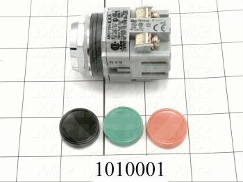 Pushbutton Switch, Momentary, Round, 16mm, Red, Green or Black Button Inserts
