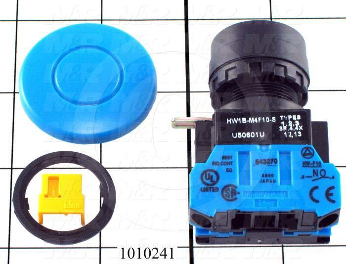 Pushbutton Switch, Momentary, Round, 22mm, 40mm Mushroom Head, Blue, 1NO