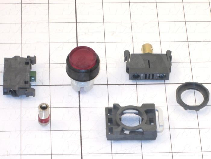 Pushbutton Switch, Momentary, Round, Extended Button Head, Red, 1NO, Illuminated, 24VDC