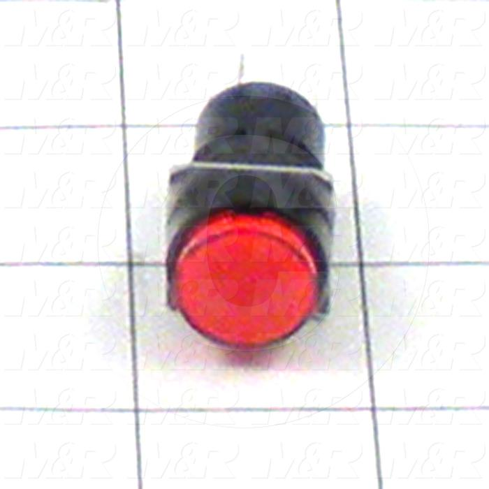 Pushbutton Switch, Momentary, Round, Red, SPDT, LED, 24VDC