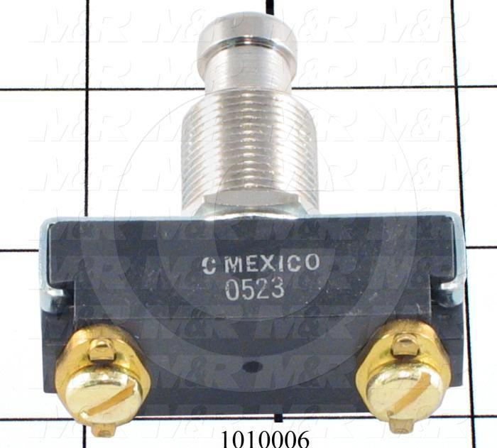 Pushbutton Switch, Momentary, SPST, 250V, 10A