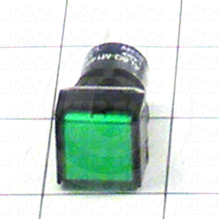 Pushbutton Switch, Momentary, Square, Green, SPDT, LED, 24VDC