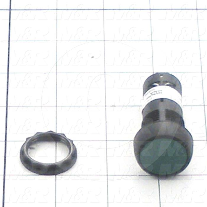 Pushbutton Switch, Unibody, Momentary, Round, 22mm, Green, 2NO