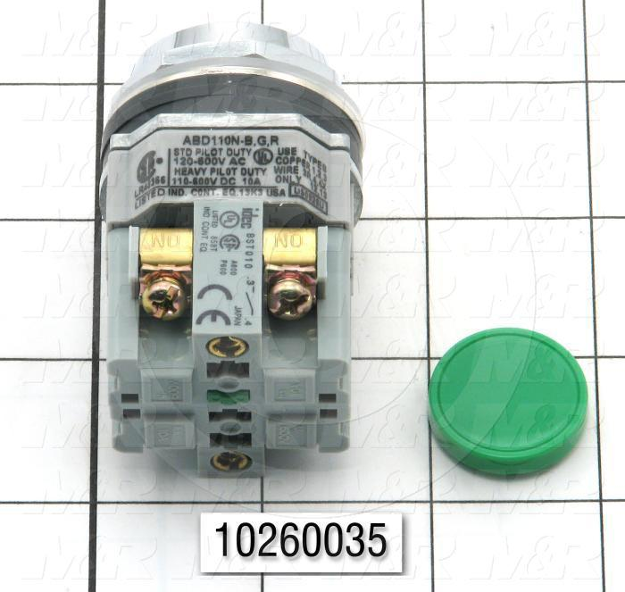 Pushbutton Switch, Unibody, Momentary, Round, 30.5mm, Flush Head, Green, 1NO, 250V, 10A