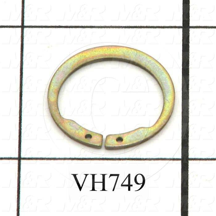 "Retaining Ring, External, Style Basic Snap, Shaft Diameter 0.625"", Thickness 0.036"", Material Steel, Finish Zinc Plated"