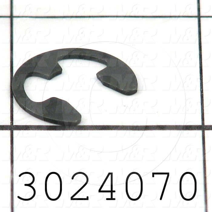 "Retaining Ring, External, Style E-Ring, Shaft Diameter 0.375"", Thickness 0.035"", Material Steel"