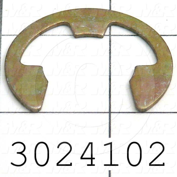 "Retaining Ring, External, Style E-Ring, Shaft Diameter 1.00 in., Thickness 0.050"", Material Steel, Finish Zinc & Yellow Chromate"