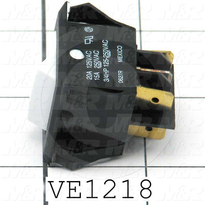 Rocker Switch, Curvette, DPDT, ON-NONE-ON, Contact Rating @ 125V 20A, Contact Rating @ 250V 15A, White