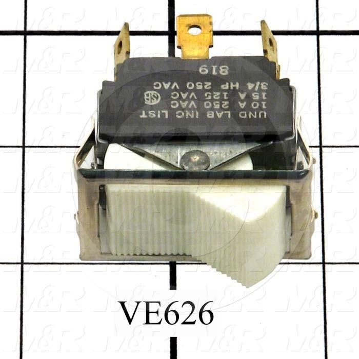 Rocker Switch, DPDT, ON-OFF-ON, Contact Rating @ 125V 15A, Contact Rating @ 250V 10A, White