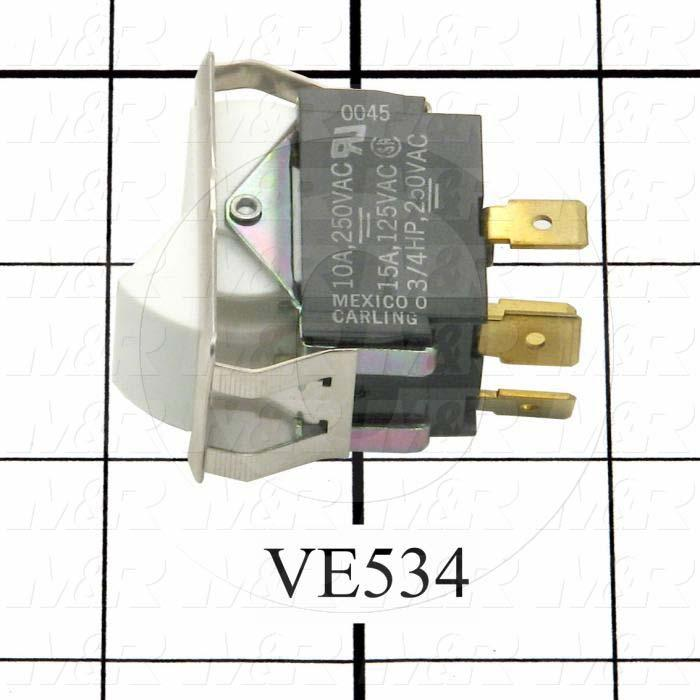 Rocker Switch, DPST, Contact Rating @ 125V 15A, Contact Rating @ 250V 10A, White