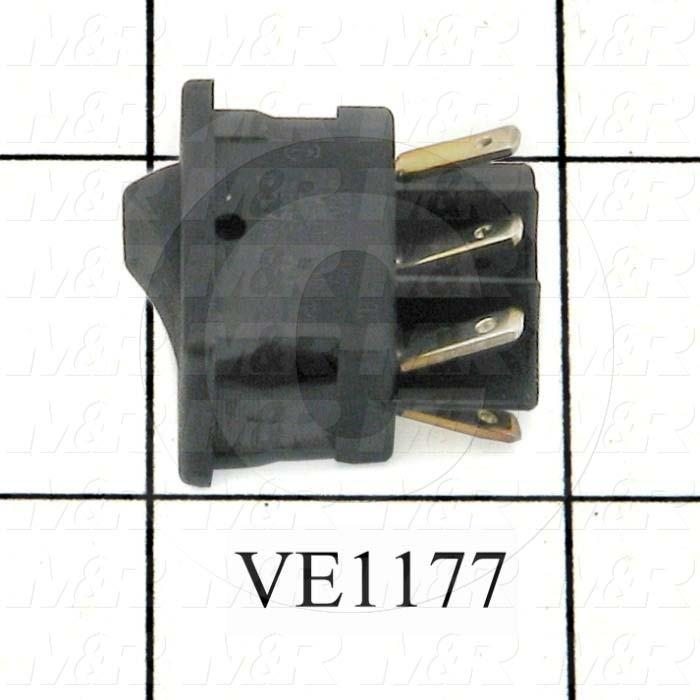 Rocker Switch, Mini, DPDT, Contact Rating @ 125V 10A, Black - Details
