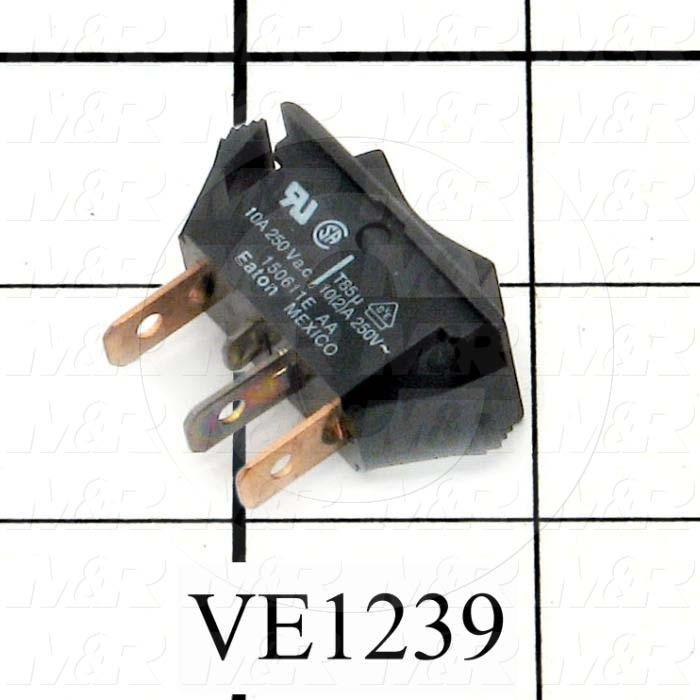 Rocker Switch, SPDT, Contact Rating @ 250V 10A