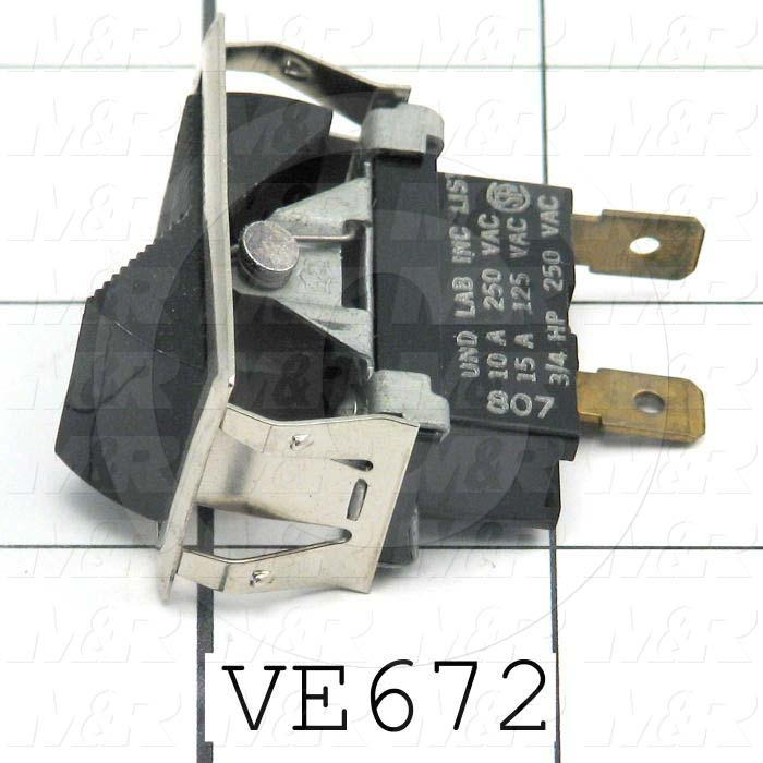 Rocker Switch, SPST, Contact Rating @ 125V 15A, Contact Rating @ 250V 10A, Black