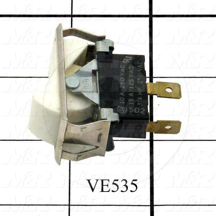 Rocker Switch, SPST, Contact Rating @ 125V 15A, Contact Rating @ 250V 10A, White