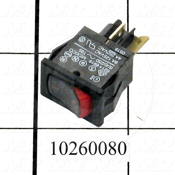 Rocker Switch, SPST, Contact Rating @ 125V 8A, Contact Rating @ 250V 4A
