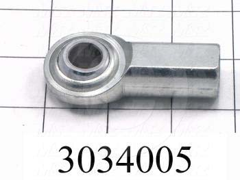 "Rod End and Spherical Bearing, Female, Right Hand, 1/2-20 Thread Size, 0.50 in. Inside Diameter, 0.625"" Ball With, 2.125"" Base to Center, Steel Body, Plastic Race, Steel Ball, 1"