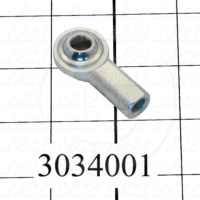 "Rod End and Spherical Bearing, Female, Right Hand, 5/16-24 Thread Size, 0.313"" Inside Diameter, 0.437"" Ball With, 1.375"" Base to Center, Steel Body, Plastic Race, Steel Ball, 1"