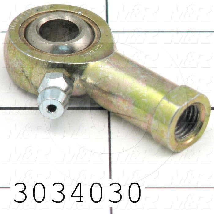"Rod End and Spherical Bearing, Female, Right Hand, 5/16-24 Thread Size, 0.313"" Inside Diameter, 0.437"" Ball With, 1.375"" Base to Center, Steel Body, Steel Race, Steel Ball"