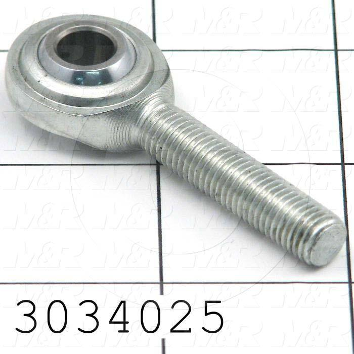 "Rod End and Spherical Bearing, Male, Left Hand, 5/16-24 Thread Size, 0.313"" Inside Diameter, 0.437"" Ball With, 1.875"" Base to Center, Steel Body, Steel Race, Steel Ball, 2"