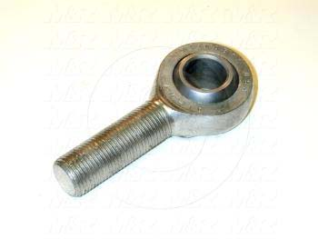 """Rod End and Spherical Bearing, Male, Right Hand, 5/8-18 Thread Size, 0.625 in. Inside Diameter, 0.750"""" Ball With, 2.625"""" Base to Center, Steel Body, Steel Ball, 1"""