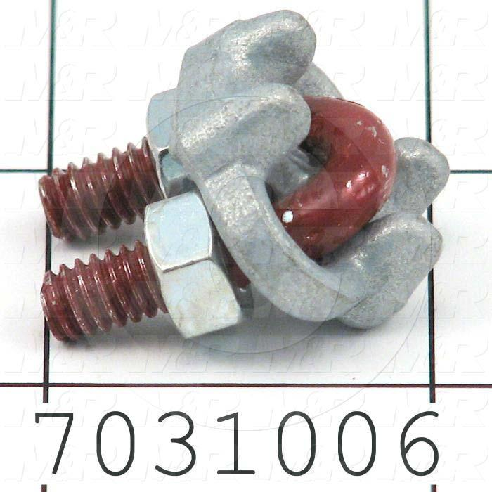"Rope Clips, Type U-Bolt, 1/8"" Rope Diameter, Material Steel, Zinc Plated Finish"