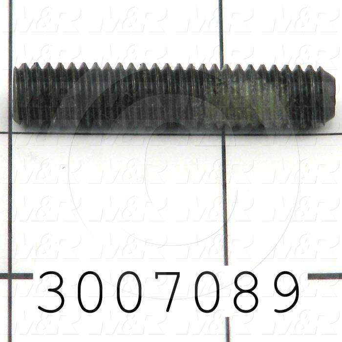 Set Screws, 5/16-18 Thread Size, 1 1/2 in. Length, Cup Point, W/Nylon Patch, Steel, Black