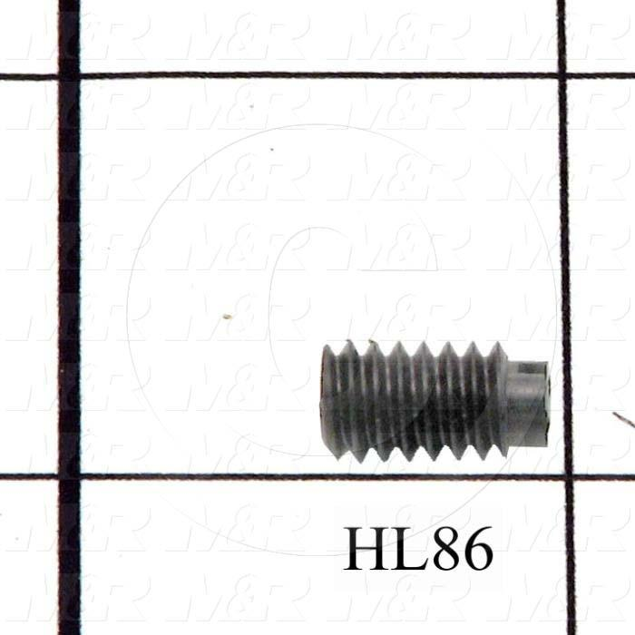Set Screws, Slotted, 1/4-20 Thread Size, 1/2 in. Length, Flat Point, Nylon, Black