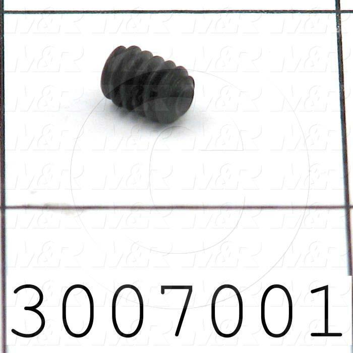 Set Screws, Socket, 10-24 Thread Size, 1/4 in. Length, Cup Point, Steel, Black