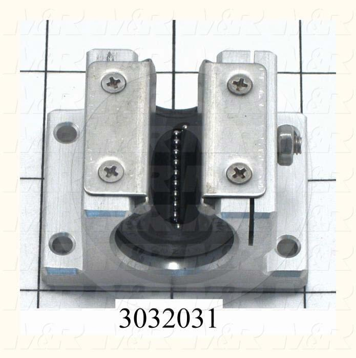 "Shaft Guide, Block w/ Ball Open Bearing, Aluminum Anodized Material, 0.50"" Shaft Dia., 2"" Width of Block, 1 1/2"" Length of Block, End Seals (Single)"