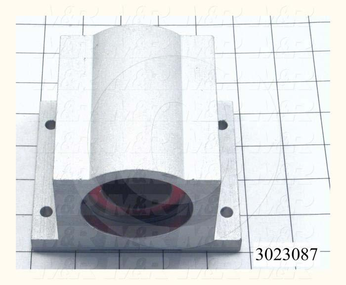 "Shaft Guide, Block w/ Plane Closed Bearing, Aluminum Anodized Material, 1 1/2"" Shaft Dia., 4 3/4"" Width of Block, 4"" Length of Block"