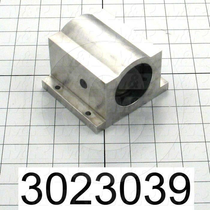 "Shaft Guide, Block w/ Plane Closed Bearing, Aluminum Anodized Material, 1 1/4"" Shaft Dia., 4"" Width of Block, 3 5/8"" Length of Block, End Seals (Single)"