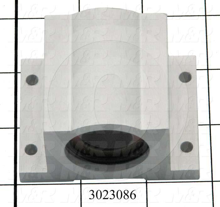 "Shaft Guide, Block w/ Plane Closed Bearing, Aluminum Anodized Material, 3/4"" Shaft Dia., 2 3/4"" Width of Block, 2 1/16"" Length of Block"