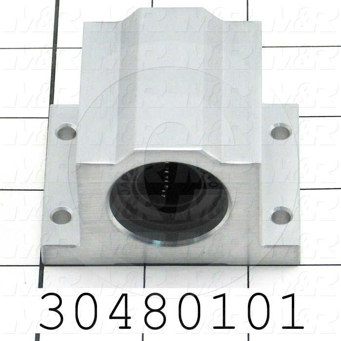 "Shaft Guide, Slide Block, Aluminum Anodized Material, 5/8"" Shaft Dia., 2 1/2"" Width of Block, 1-15/16"" Length of Block, End Seals (Single)"