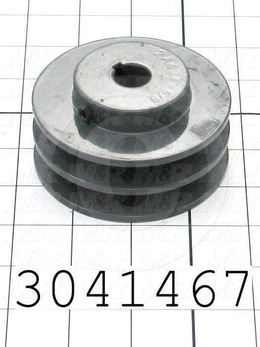 "Sheaves, Double Groove, 1A274 Sheave Type, Cylindrical Bore Type, 0.63 in. Bore Size, 3.450"" Outside Diameter, Steel Material"