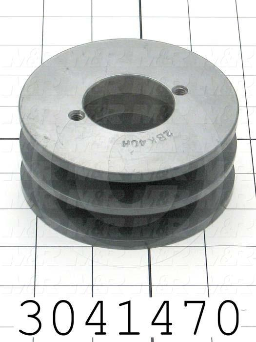 "Sheaves, Double Groove, 2BK40H Sheave Type, Q-D H Bushing Bore Type, 3.950"" Outside Diameter, Steel Material"