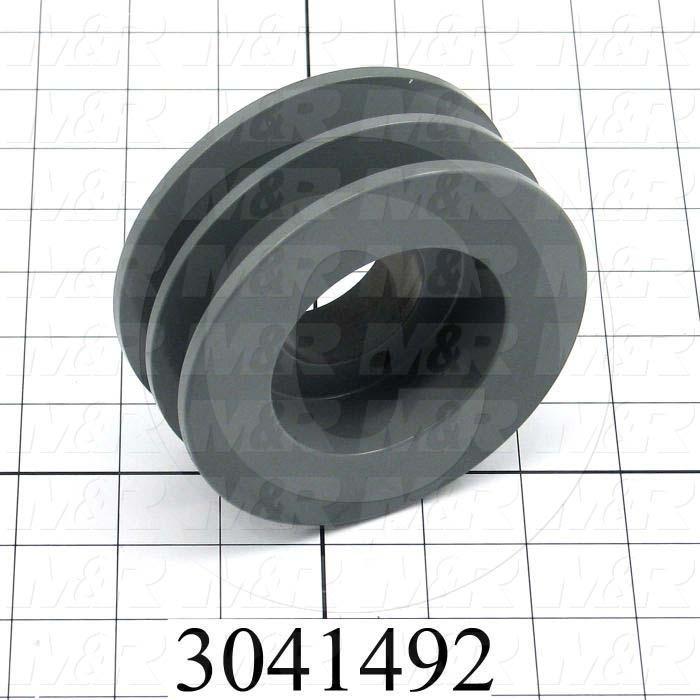 "Sheaves, Double Groove, 2BK45H Sheave Type, Q-D H Bushing Bore Type, 4.250"" Outside Diameter, Steel Material"
