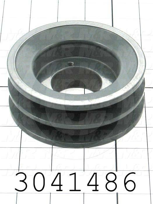 "Sheaves, Double Groove, 2BK47H Sheave Type, Q-D H Bushing Bore Type, 4.450"" Outside Diameter, Steel Material"