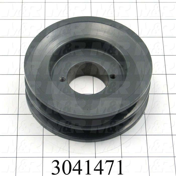 "Sheaves, Double Groove, 2BK52H Sheave Type, Q-D H Bushing Bore Type, 4.95"" Outside Diameter, Steel Material"