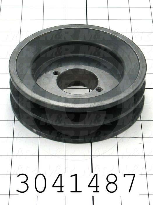 "Sheaves, Double Groove, 2BK57H Sheave Type, Q-D H Bushing Bore Type, 5.450"" Outside Diameter, Steel Material"