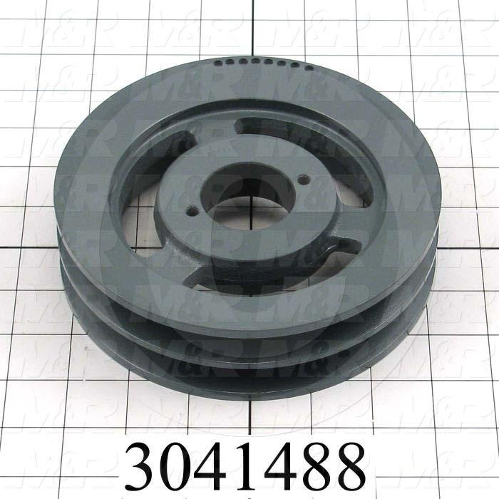 "Sheaves, Double Groove, 2BK67H Sheave Type, Q-D H Bushing Bore Type, 6.450"" Outside Diameter, Cast Iron Material"