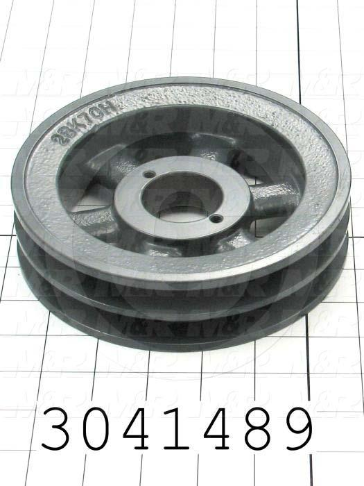 "Sheaves, Double Groove, 2BK70H Sheave Type, Split Taper  H Bushing Bore Type, 6.75"" Outside Diameter, Cast Iron Material"