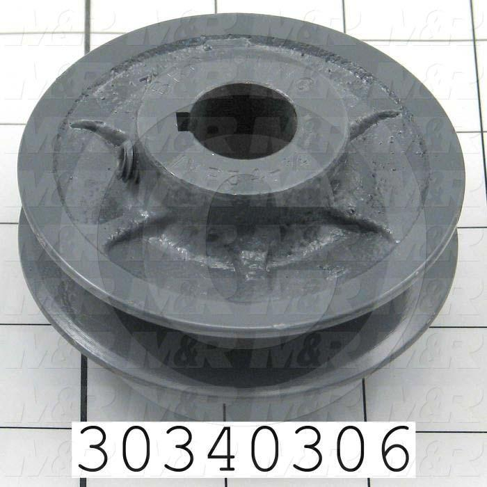 """Sheaves, Single Groove, 1VP34 Sheave Type, Cylindrical with Keyset Bore Type, 0.75"""" Bore Size, 3.150"""" Outside Diameter, Cast Iron Material"""