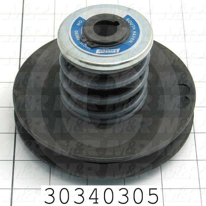 """Sheaves, Single Groove, 5010 Sheave Type, Cylindrical with Keyset Bore Type, 0.63 in. Bore Size, 5.00"""" Outside Diameter, Steel Material"""