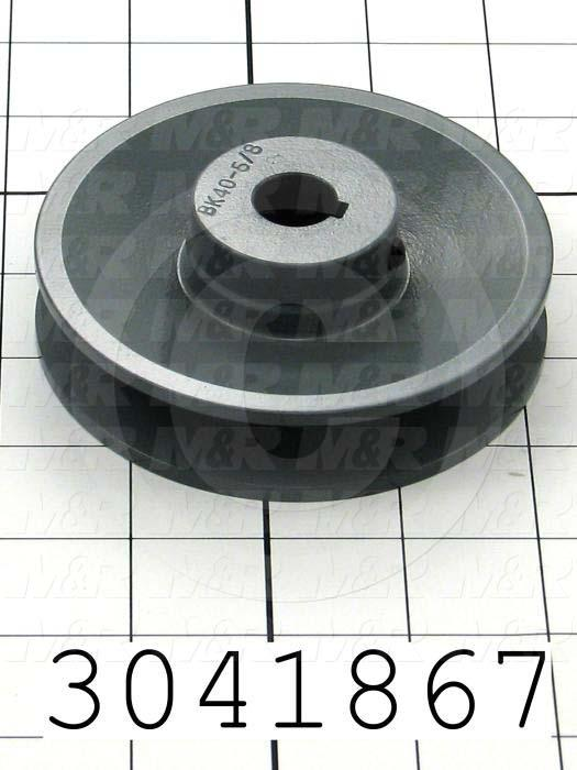 """Sheaves, Single Groove, BK40 Sheave Type, Cylindrical with Keyset Bore Type, 0.63 in. Bore Size, 3.95"""" Outside Diameter, Cast Iron Material"""