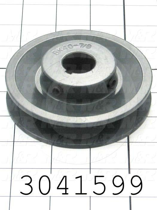 """Sheaves, Single Groove, BK40 Sheave Type, Cylindrical with Keyway Bore Type, 7/8 in. Bore Size, 3.95"""" Outside Diameter, Cast Iron Material"""
