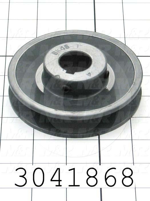 "Sheaves, Single Groove, BK45 Sheave Type, 1.00"" Bore Size, 4.250"" Outside Diameter, Steel Material"