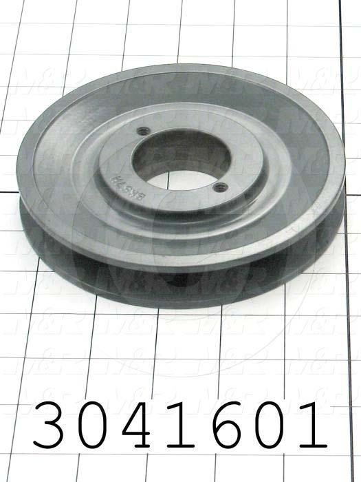 "Sheaves, Single Groove, BK57H Sheave Type, Split Taper  H Bushing Bore Type, 5.45"" Outside Diameter, Cast Iron Material"